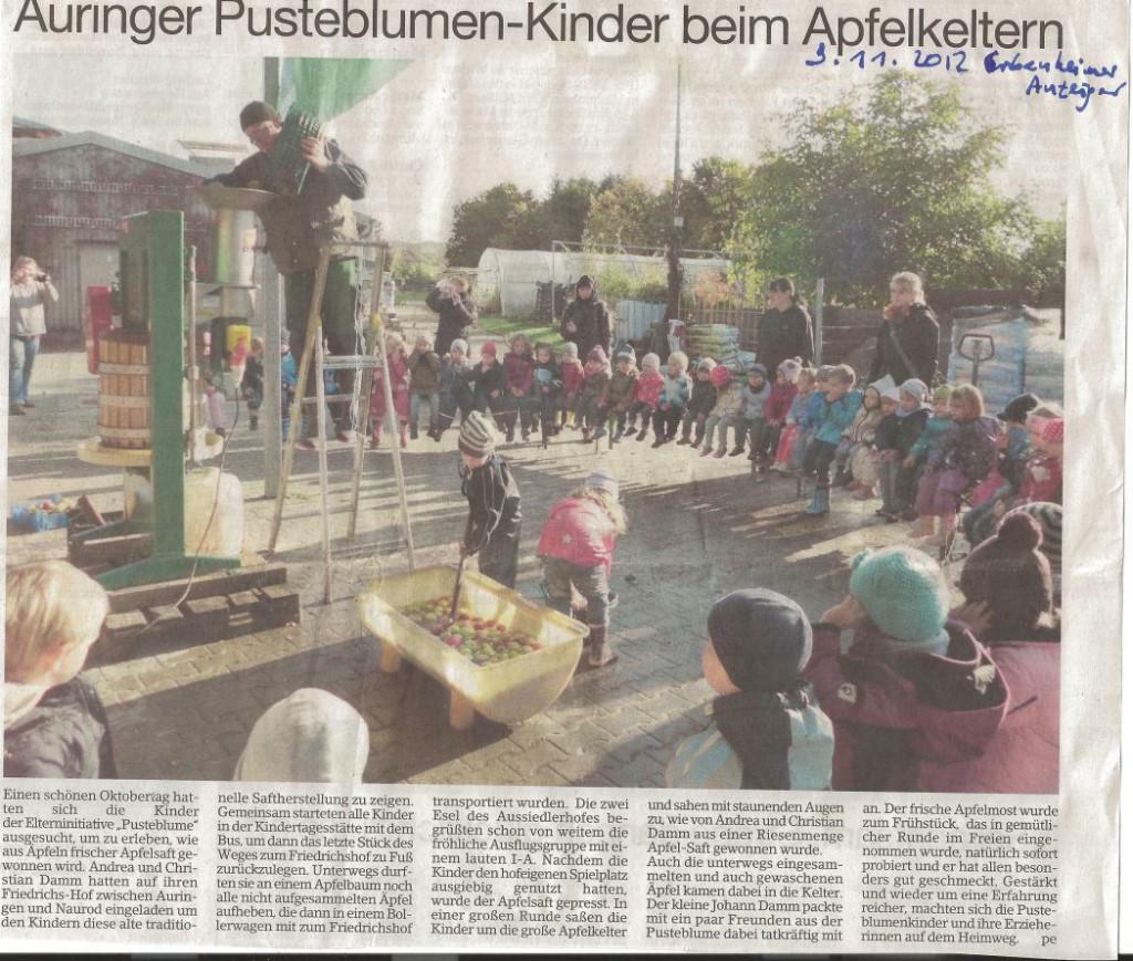 Zeitungsartikel: Auringer Pusteblumen-Kinder beim Apfelkeltern